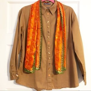 Mountain Lake Brown Halloween Shirt w/Scarf - S